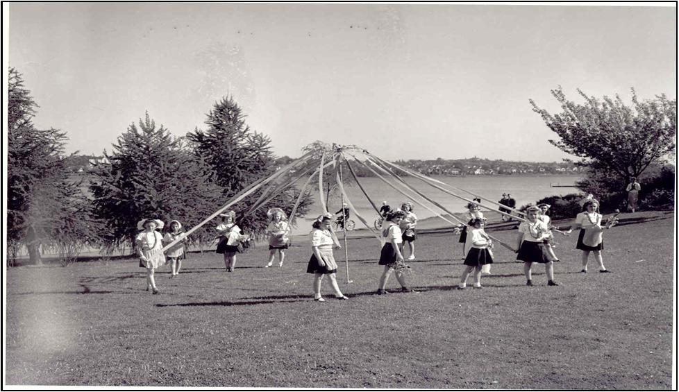 Girls around the May Pole at Green Lake—1944