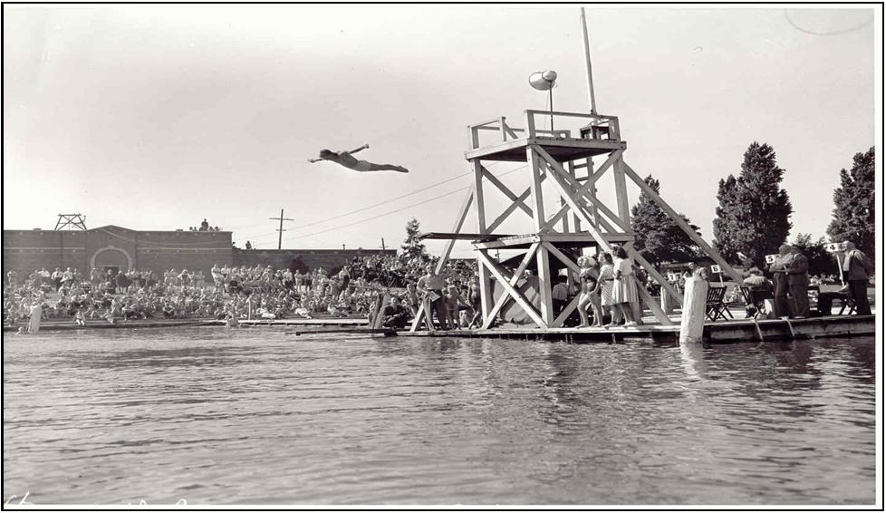 Diving competition on the West Side of  Green lake—1941
