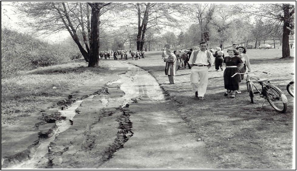 Earthquake damage to the shore of Green Lake—1949